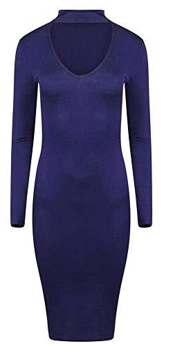 Top Fashion18 Damska damska sukienka z dekoltem w serek obcisła sukienka midi damska sukienka z długim rękawem sukienka top rozmiar UK 8-52
