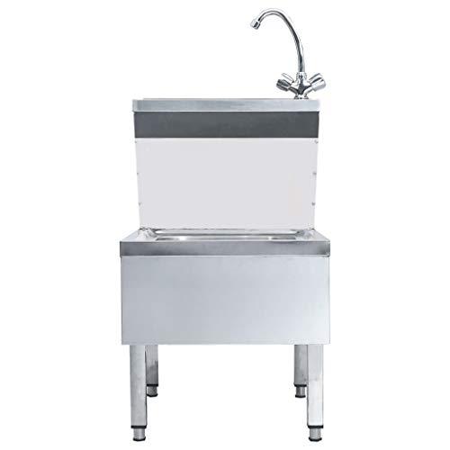 Festnight Gastro-Handwaschbecken mit Wasserhahn Freistehend Edelstahl Gastronomie Waschtisch Waschbecken Spülbecken Gastrobecken Ausgussbecken Edelstah 50 x 60 x 109 cm (L x B x H)