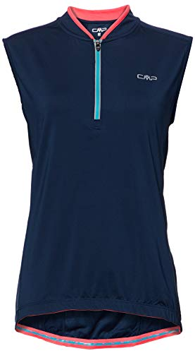 CMP Maillot de Ciclismo sin Mangas para Mujer, Mujer, Camiseta, 3C89156T, Azul,...