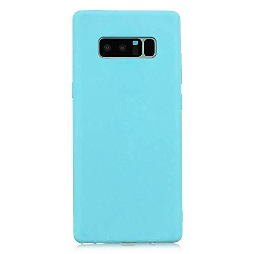 cuzz Funda para Samsung Galaxy Note 8+{Protector de Pantalla de Vidrio Templado} Carcasa Silicona Suave Gel Rasguño y Resistente Teléfono Móvil Cover-Azul Claro