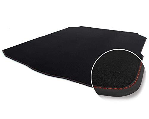 Kofferraummatte für E-Klasse W212 Kombi ohne Variosch. ab 11.09 Autoteppich Kofferrraum Tuning Velours schwarz Ziernaht rot