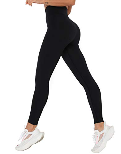 SHAPERIN Damen Sport Yoga Leggings Scrunch Butt Po Lift Leggings Push up Sporthose für Workout Training Fitness (#7 Schwarz, S/M)