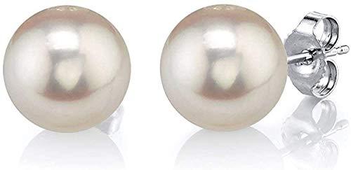 The Pearl Source - Orecchini a perno in oro 14k con perle di acqua dolce coltivate, bianche, qualità AAAA e oro bianco, colore: Gold/White, cod. 1