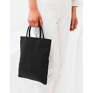 BAGGU Mini Flat Tote Black Leather