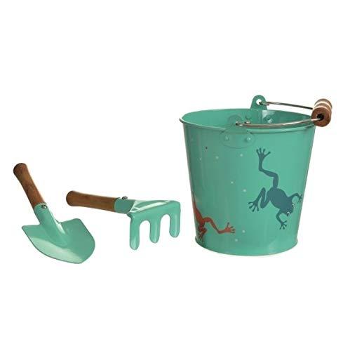 Egmont Toys - Set Grenouille avec Seau, Pelle et râteau - Bois,Métal - 600127