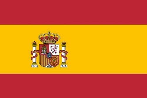 Fahne Flagge Hissfahne mit 2 Metallösen zur Befestigung und zum Hissen - Größe 90 x 150 cm Nationalfahne WM EM Garten Deko Gastronomie Weltmeisterschaft Europameisterschaft national (Spanien)