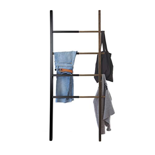 Umbra Hub Ladder – Adjustable Clothing Rack for Bedroom or Freestanding Towel Rack for Bathroom | Expands from 16 to 24 inches with 4 Notched Hooks, Black/Walnut
