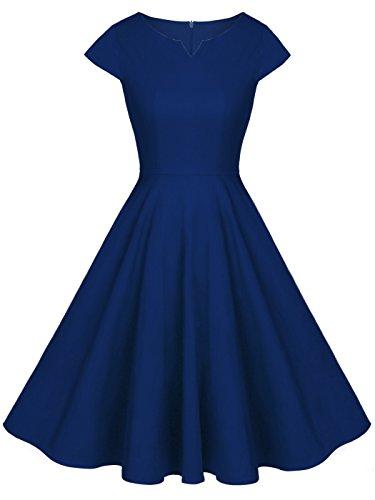 FAIRY COUPLE 1950S Retro Rockabilly Tupfen Kappen Hülsen Abschlussball Kleid DRT019(M,Navy blau)