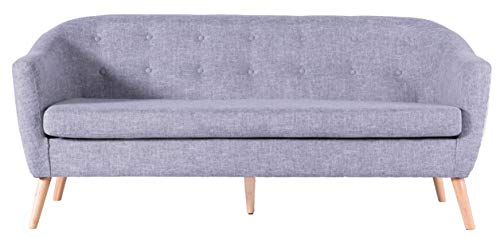 Bold Tones Modern Linen Tufted 3 Seat Sofa, Large Grey