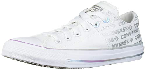 Converse Women's Chuck Taylor All Star Madison Logo Print Low Top Sneaker, White/White/Pure Silver, 7 M US