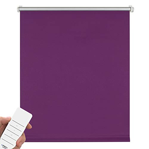 Kirsch Innovation Elektrisches Verdunklungsrollo für Fenster, Klemmfix ohne Bohren, Rollo mit Akku, Thermorollo lichtundurchlässig, Hitzeschutz – 45x150 cm lila - Klemmträger