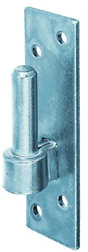 GAH-Alberts 306809 Kloben auf Platte | Süddeutsche Form mit DI oder DII-Haken | galvanisch blau verzinkt | Dornmaß Ø14 mm | Platte 130 x 40 mm