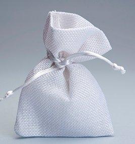 Set 30 pezzi, Bomboniera sacchetto stoffa iuta 10x13, portaconfetti (ck7022-30) (BIANCO)