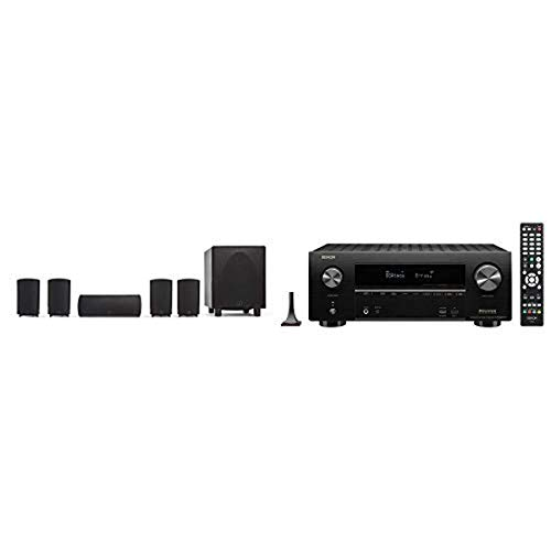 Definitive Technology ProCinema 6D + Denon AVR-X2600H Receiver - Compact 5.1 Channel Home Theater Speaker System (2019 Model) | Powered Subwoofer, Center Channel, 4 Speakers, 7.2 Channel AVR