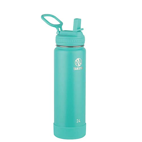 Takeya Actives Insulated Stainless Steel Water Bottle with Straw Lid, 24 oz, Teal