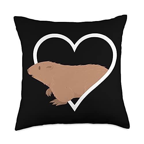 Marmot Gifts Heart Marmot Animal Zookeeper Throw Pillow, 18x18, Multicolor