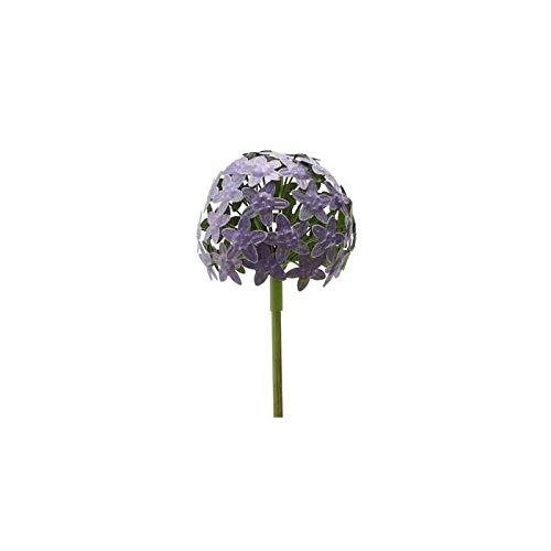 L'Héritier Du Temps Fleur d'Allium sur Tige Décoration Florale pour Jardin Massif ou Pot de Fleur en Métal Coloré Vert et Violet 16x16x111cm