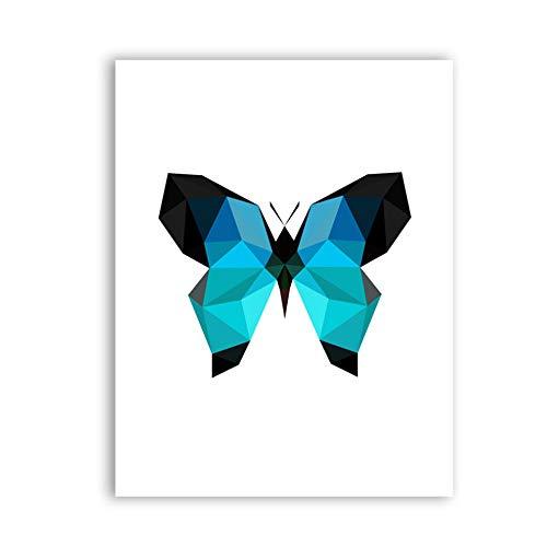Wandkunst drucken Bilder abstrakte geometrische Schmetterling Poster Leinwand Malerei Wohnkultur 70x90cm gerahmt blau
