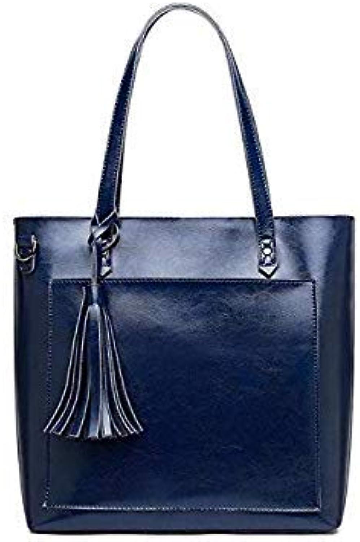 Vintage Genuine Leather Oil Wax Cowhide Shopping Bucket Women Shoulder Bags Handbag Cross Body Messenger Female Bag Purse blueee