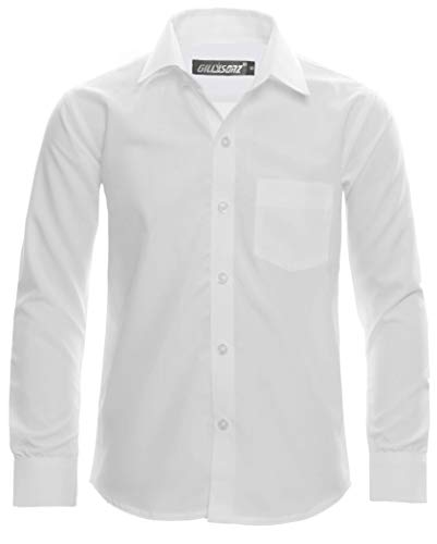 GILLSONZ A1vDa Kinder Party Hemd Freizeit Hemd bügelleicht Lange Arm, Weiß, 146/152 (Herstellergröße: 14)
