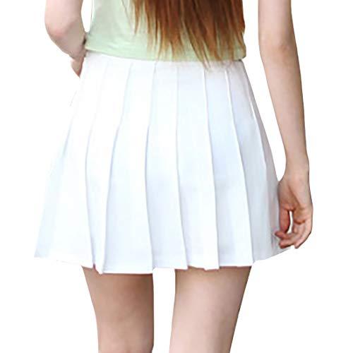 GYUANLAI Faldas De Mujer Falda Plisada Mujer Niñas Estudiante Falda Corta De Cintura Alta Skater Escuela De Tenis Mini Falda Uniforme con Pantalones Cortos Interiores