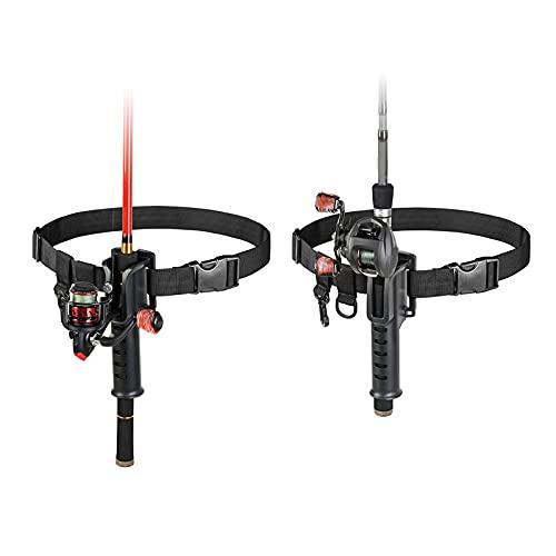 Syina 1 cinturón de pesca Belly Top soporte para caña de pescar con soporte para caña y 2 anillos ajustables, accesorio para pesca en el exterior, herramienta esencial, solo cinturón sin caña