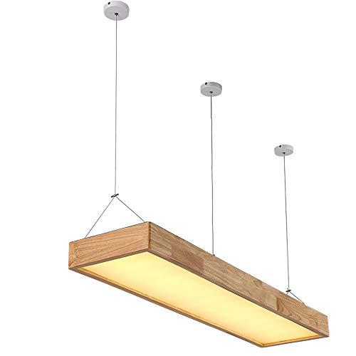 Dimmable LED Suspension Moderne En Bois Design Rectangulaire Panneau Lampe De Salle À Manger Lustre En Bois Acrylique Abat-Jour Bureau Éclairage Simplement Des Lampes Plafond Déco Lumière