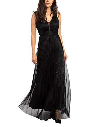 APART Elegantes Damen Kleid, Abendkleid, metallischer Glanz, V-Ausschnitt mit Mesh, Empire-Stil, schwarz, 38
