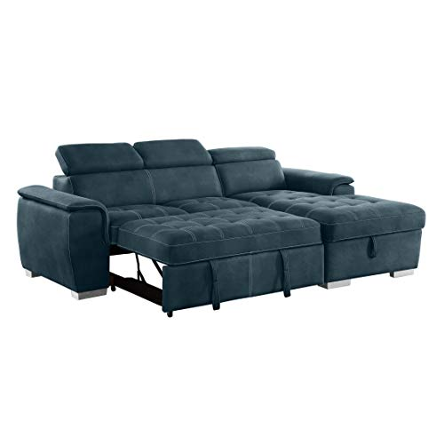 Homelegance Ferriday 98' x 66' Sectional Sleeper with Storage, Blue