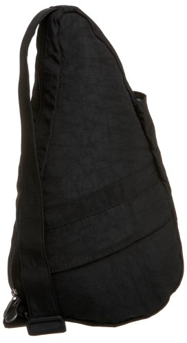 AmeriBag X-Small Distressed Nylon Healthy Back Bag Tote, Black