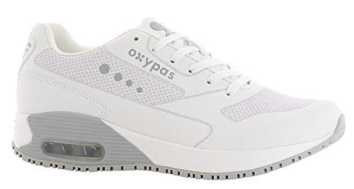 Oxypas Neu Sport, Berufsschuh Ela, Antistatischer (ESD) Leder Sneaker für Damen (42, Weiß-Hellgrau)