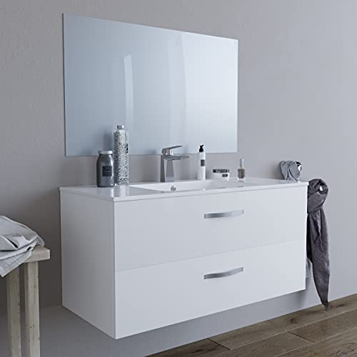 Mobile bagno SOSPESO 100 cm con lavabo in ceramica e specchio con cassetti BIANCO LINDA 8210