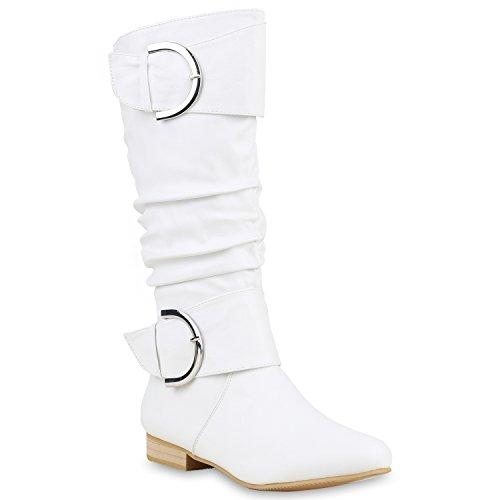 Klassische Damen Stiefel Langschaftstiefel Velours Schnallen Blockabsatz Damenstiefel Schuhe 123355 Weiss 40 Flandell