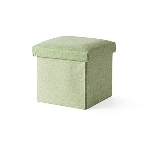 Los organizadores XWYSSH Caja taburete taburete plegable de almacenamiento con tapa Plaza puf de zapatos Taburete Banqueta taburete de asiento de tela de lino con cojines |Sala de estar en máximo verd