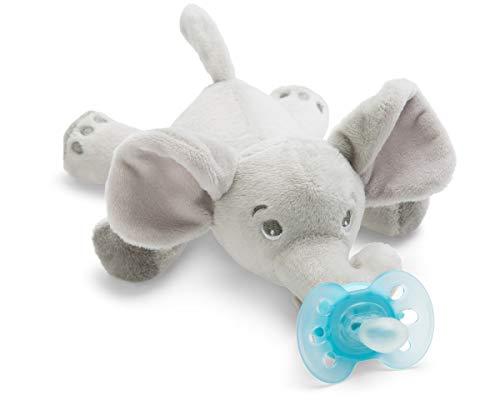 Philips Avent Snuggle Elefant SCF348/13, Kuscheltier mit Schnuller ultra soft, ideales Geschenk für Neugeborene und Babys, Schnullertier