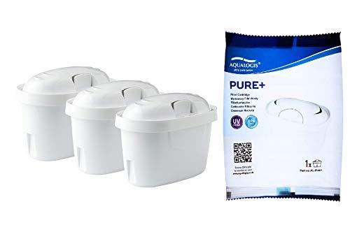 Aqualogis Pure+ Cartuccia per filtro dell'acqua compatibile con Maxtra+ Caraffa Marella, Style, Fun 3 pezzi bianco