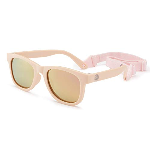 Flexible Polarized Baby Sunglasses with Strap Adjustable for Toddler Newborn Infant 0-24 Months (Pink)