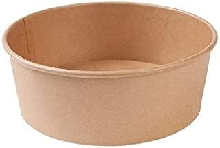 BIOZOYG Bio tazón desechable de Ensalada y Sopa marrón Redondo 1000 ml I Tazones biodegradables envases corrugados de cartón Kraft con Revestimiento Interno de PLA I 50 Tazones Desechables