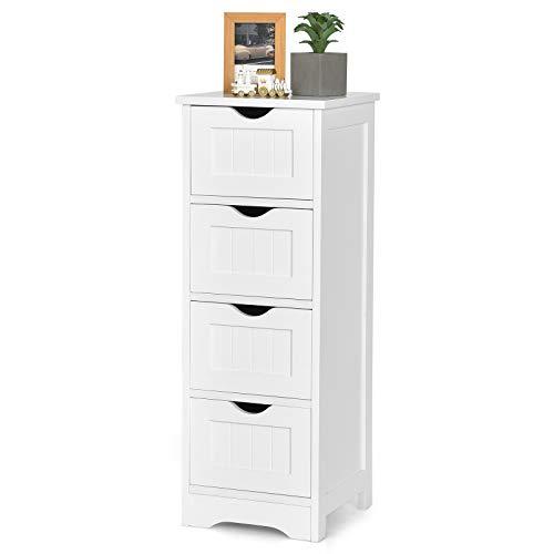 COSTWAY Badezimmerschrank mit Schubladen, Nachtkommode weiß, Bad Midischrank, Badkommode freistehend, Beistellschrank für Badezimmer, Wohnzimmer und Büro (4 Schubladen)