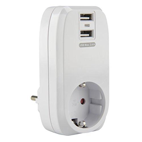 UNITEC 47590 Zwischenstecker USB 3,4A ws, weiߟ