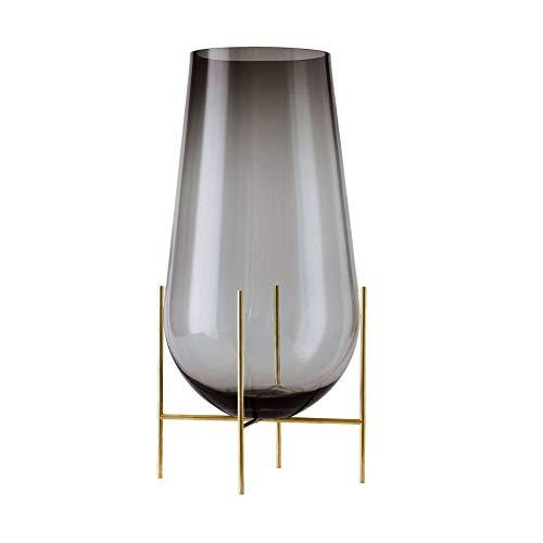 Échasse Vase L, rauchgrau H 60cm Ø 30cm Gestell Messing gebürstet