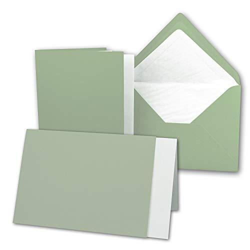 25 x Kartenpaket mit gefütterten Brief-Umschlägen und Einleger - gerippt - DIN A6/C6 - Olive-Grün - 10,5 x 14,8 cm - Nassklebung - NEUSER PAPIER
