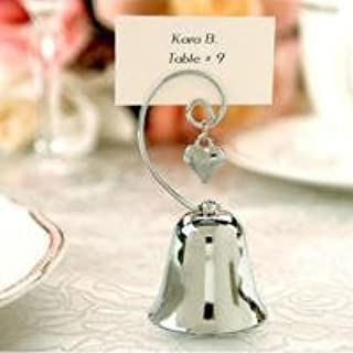 Table Number Holders - 12 Piece - Bell Place Card Holder - Metal Wedding Numbers Cards Stand - Menu Picture & Photo Sign Name Clip Top Stands - For Restaurants, Weddings, Banquets, Christmas, Silver