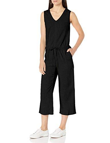 Amazon Essentials Women's Sleeveless Linen Jumpsuit, Washed Black, 10