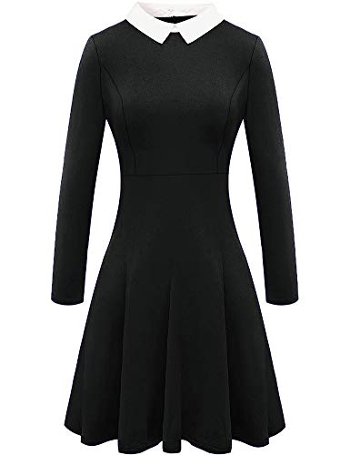 BesserBay Damen Halloween Wednesday Addams Kostüm Kleid Peter Pan Dress Schwarz