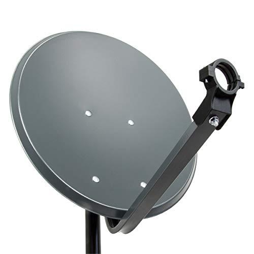PremiumX PXS45 Satellitenschüssel 45cm Stahl Anthrazit Satellitenantenne SAT Spiegel mit LNB Tragarm und Masthalterung