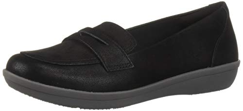 Clarks Women's Ayla Form Loafer, Black Synthetic Nubuck, 9 M US