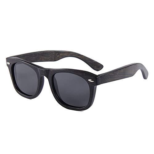 LG Snow UV400 Púrpura Negro Mujer Modelos Gafas De Sol Polarizadas Hombres Teñidas Bambú Gafas De Sol Gafas De Sol De Madera (Color : Black)