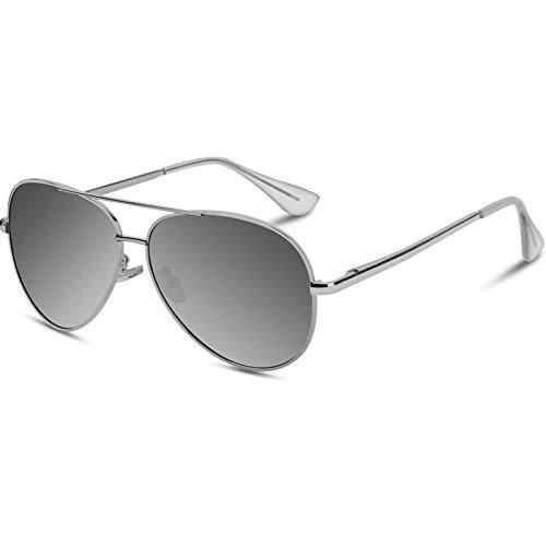 VVA Gafas de sol Hombre Polarizadas Aviador Hombres Aviador Gafas de sol Polarizadas Hombre Unisex Protección UV400 por V101(Plateado/Plateado)