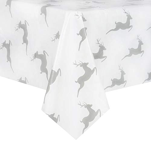 Mr Crimbo Reindeer Christmas PVC Tablecloth Vinyl Table Cover Protector Rectangular Home Accessory Xmas Room Decoration Grey & White 140x240cm